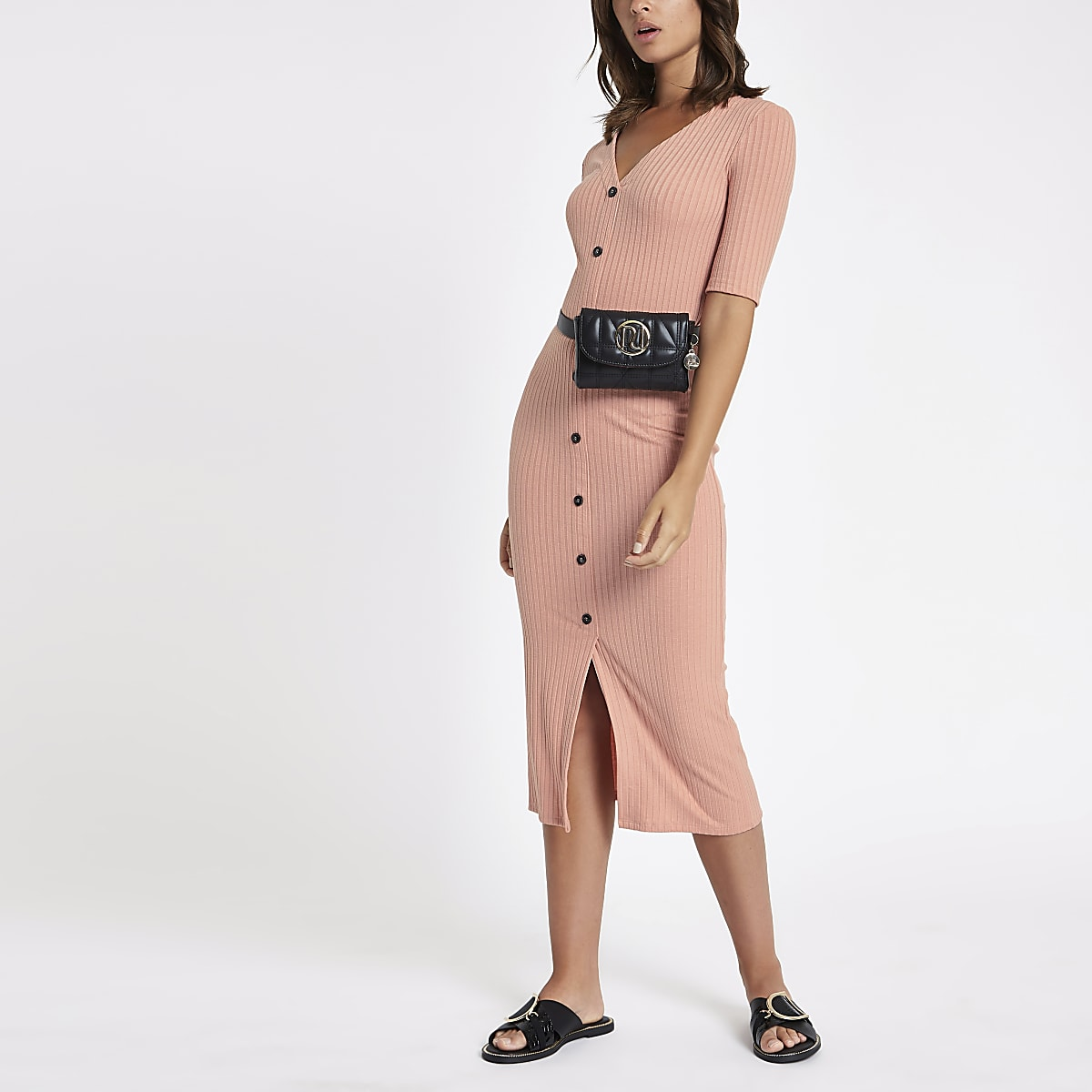 9a4b978a899f Pink button short sleeve midi bodycon dress - Bodycon Dresses ...