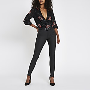 Black sequin floral wrap front bodysuit