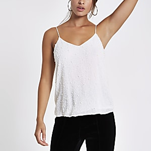 White crepe pearl embellished cami top