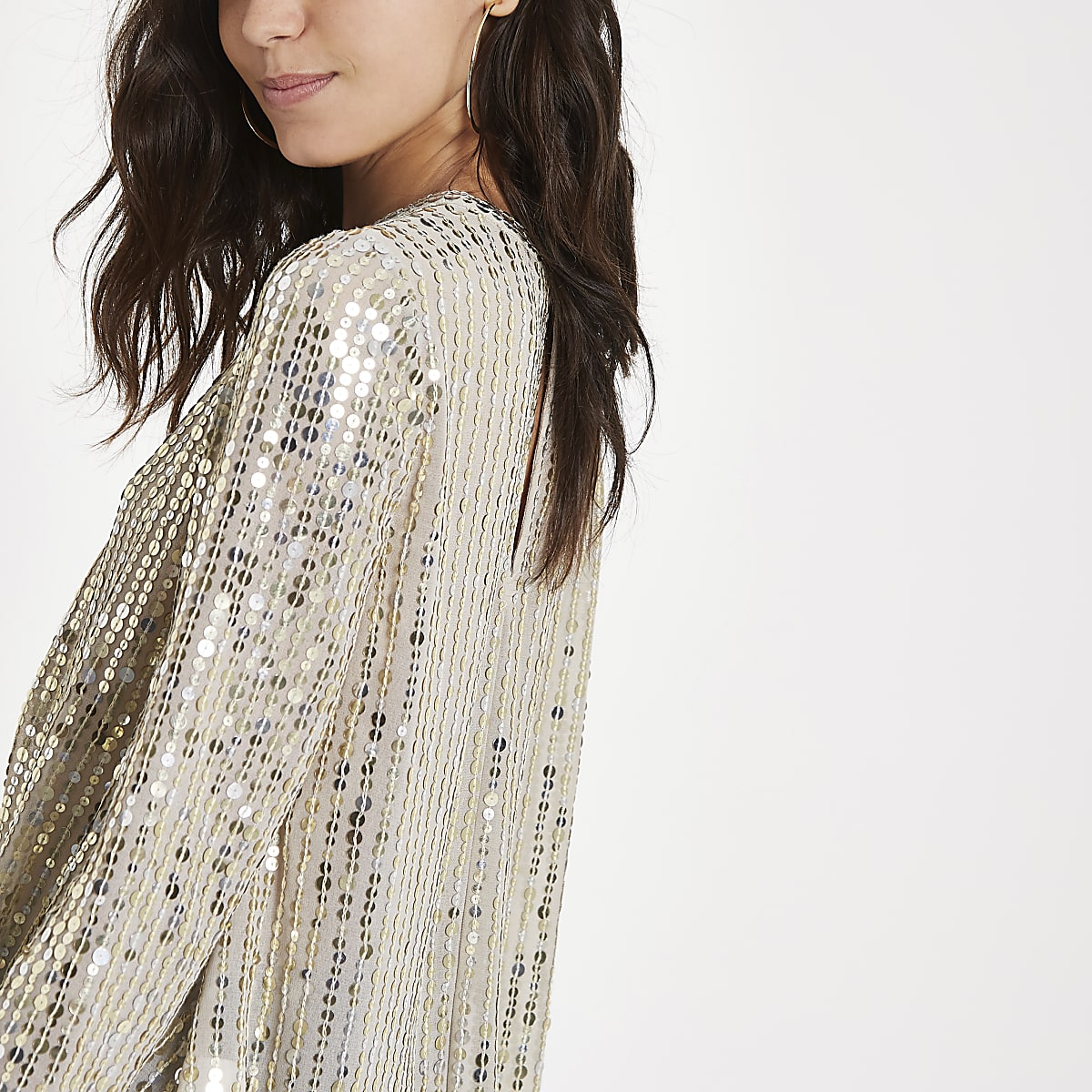 Gold sequin tuck front long sleeve top