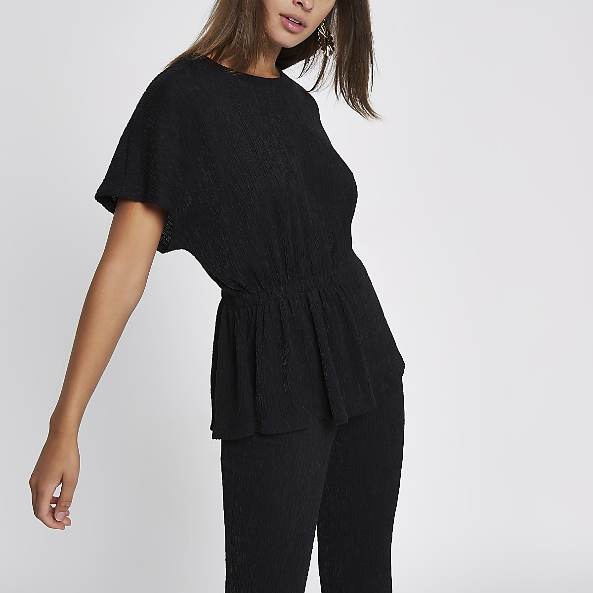 Black textured ruched side T-shirt