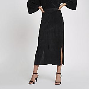 Black plisse midi skirt