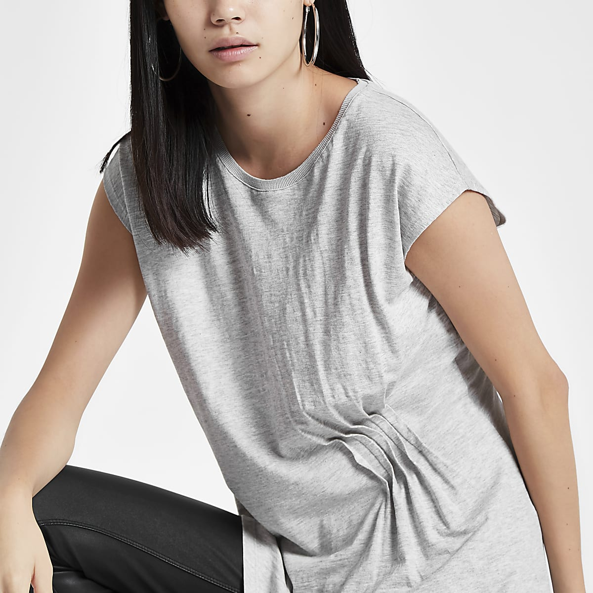 Grey longline pleated top