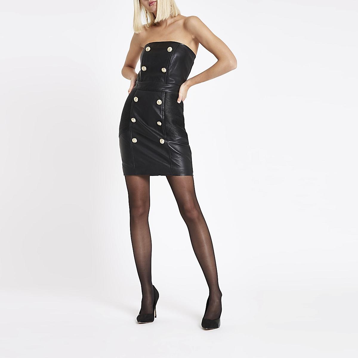RI Studio black leather button bandeau dress