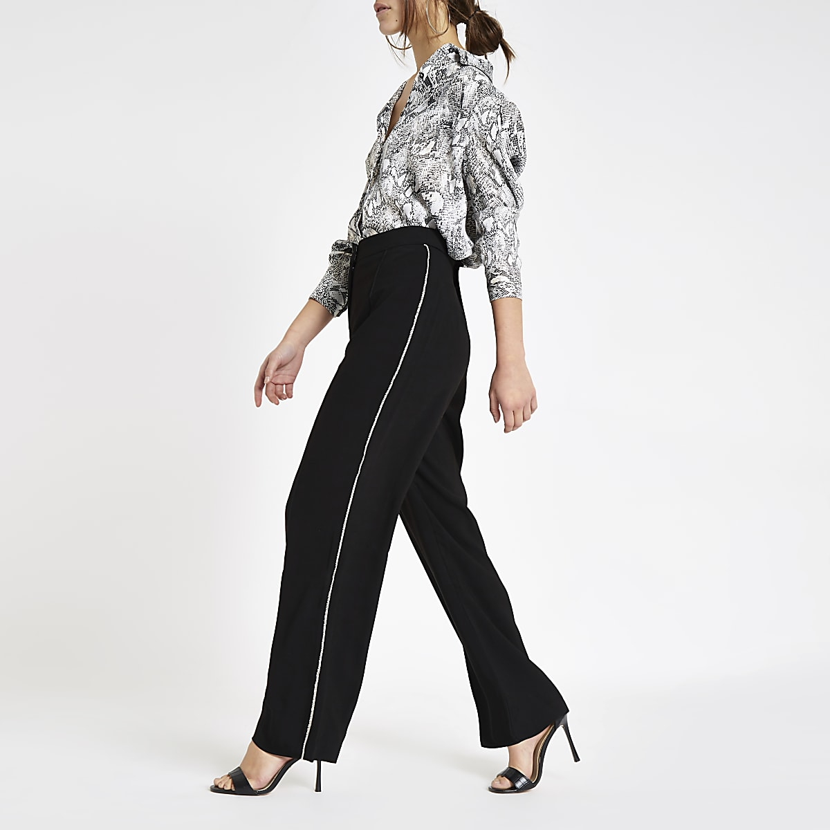 Petite black diamante side wide leg trousers