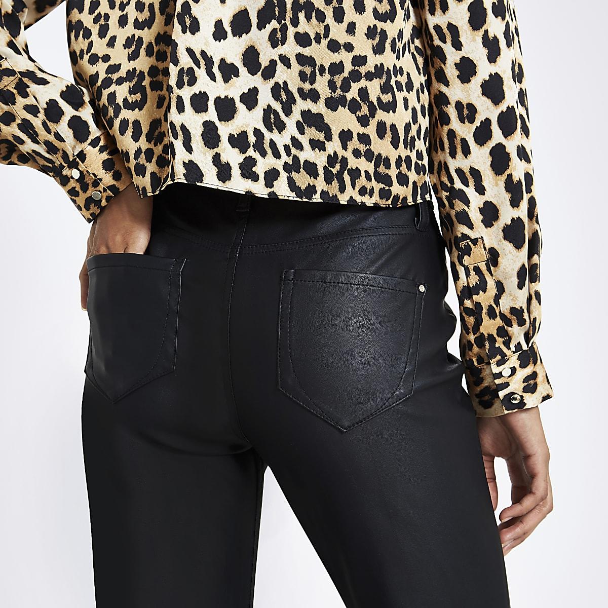 f282220ec6bdd Petite black coated Molly jeggings - Skinny Trousers - Trousers - women