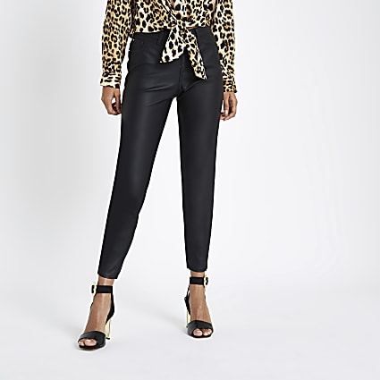 Petite black coated Molly jeggings