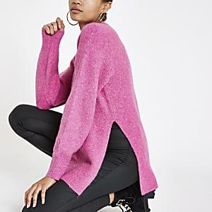 Seitlich geschlitzter Strickpullover in Pink