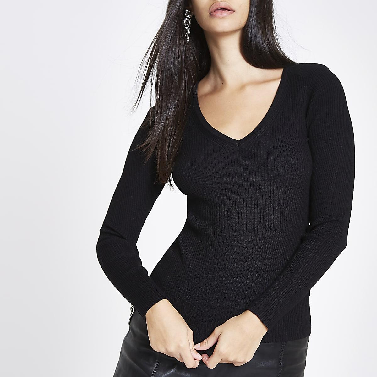 Black knit ribbed shoulder padded V neck top