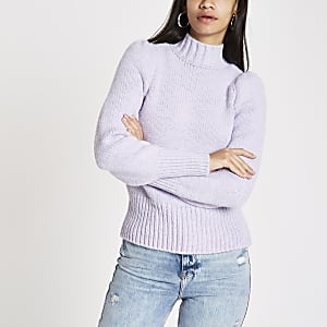 Purple puff sleeve knit jumper