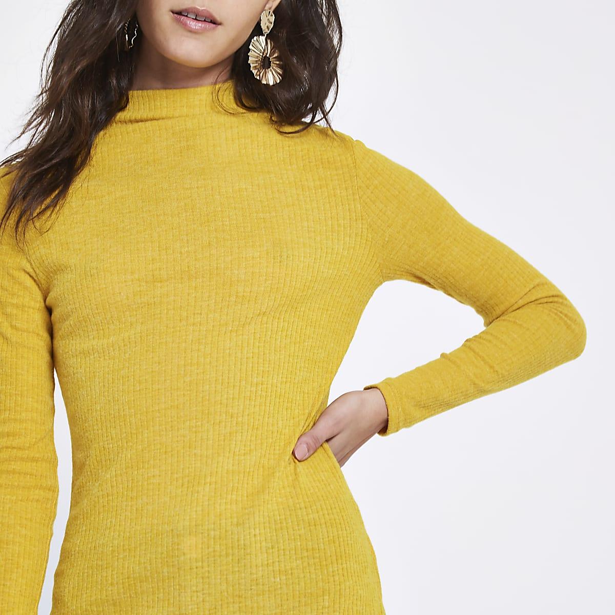 Yellow brushed rib high neck top