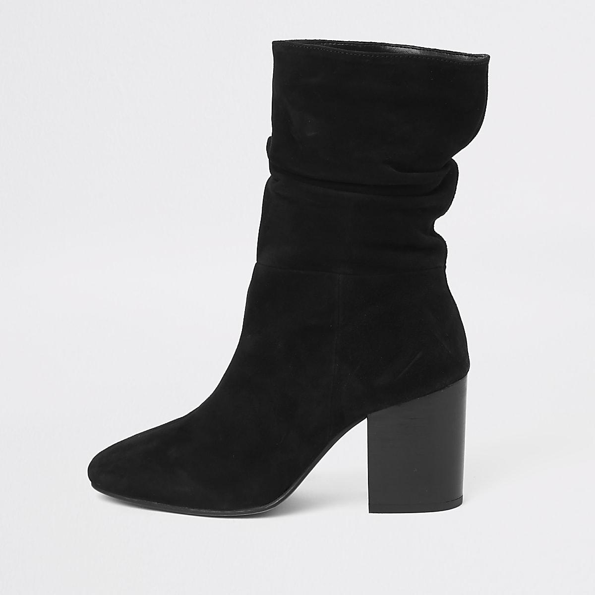 e4d45961458 Black suede slouch block heel boots - Boots - Shoes   Boots - women