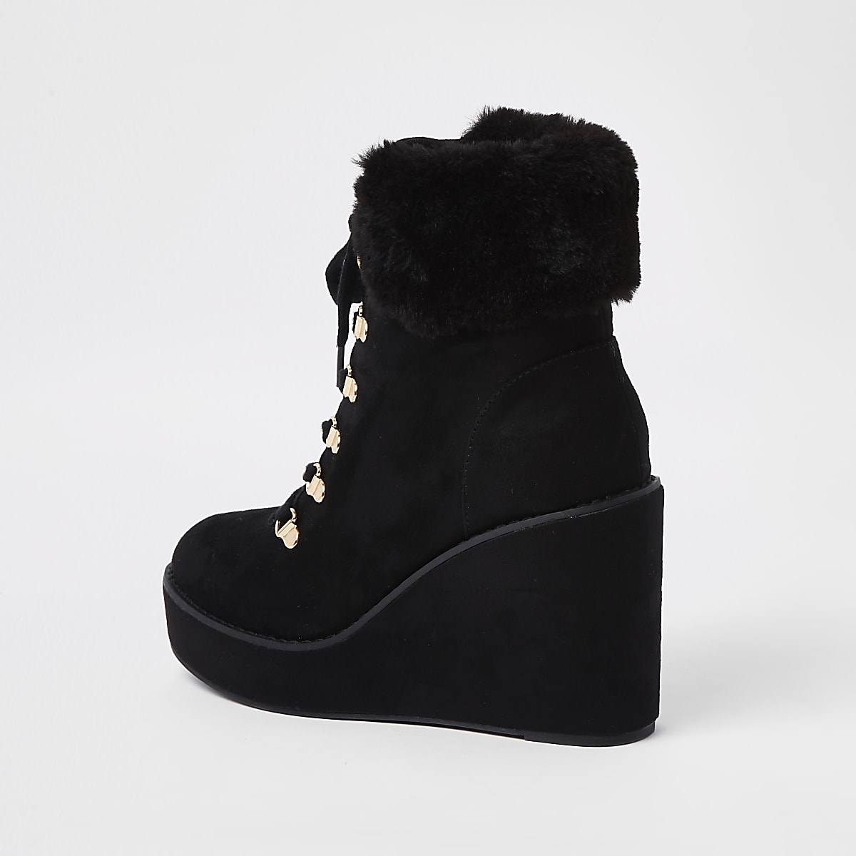 9820e4ba2ac Black lace-up wedge heel boots - Boots - Shoes   Boots - women