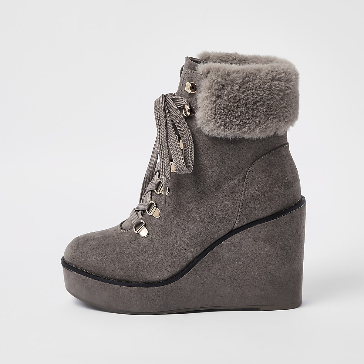 Grey lace-up wedge heel boots