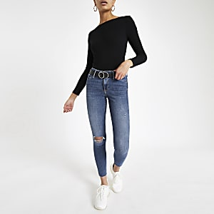 Mid blue Molly mid rise ripped jeggings