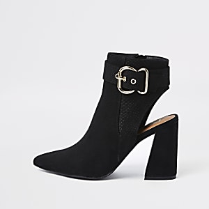 Black suede pointed buckle shoe boot