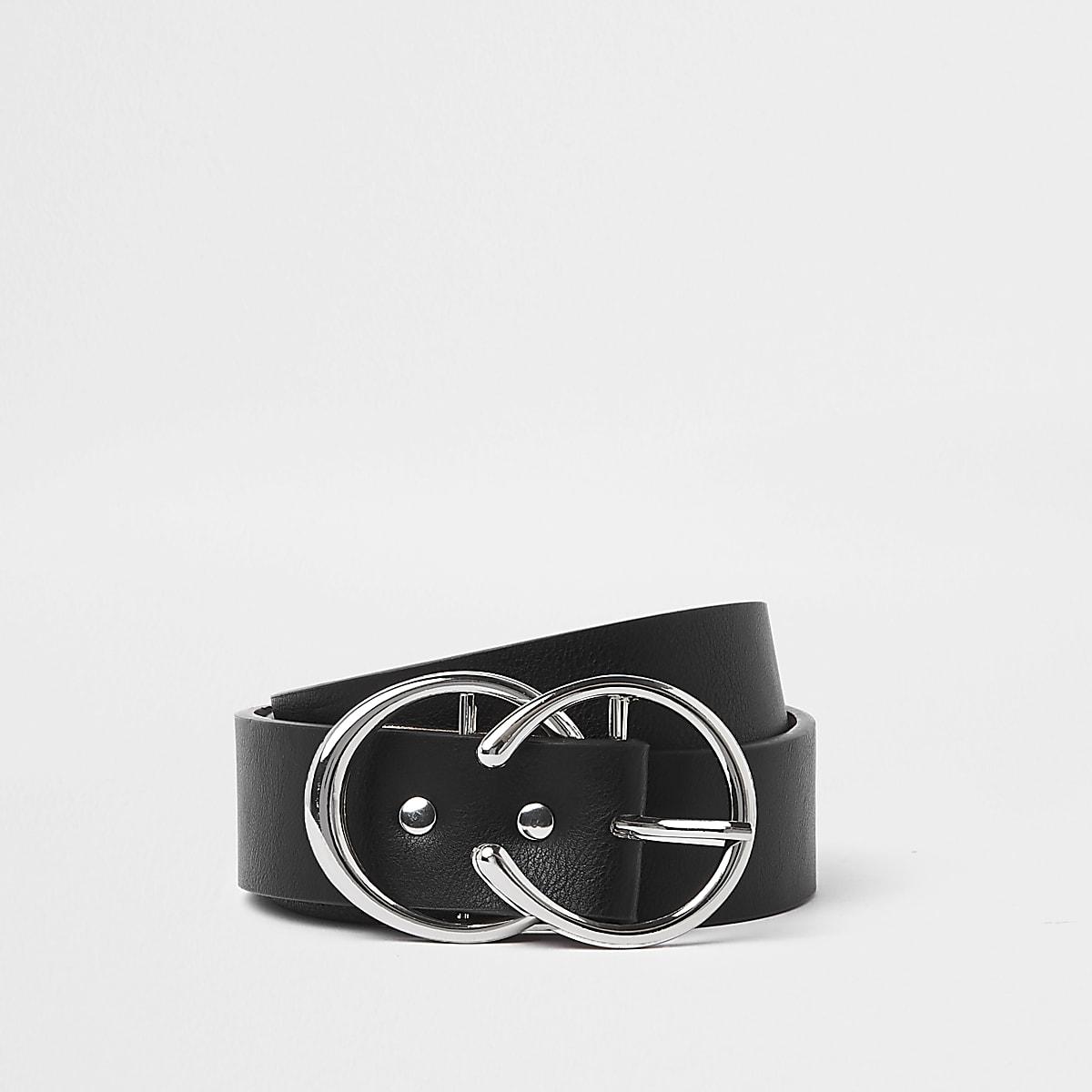 Black silver tone horseshoe double ring belt