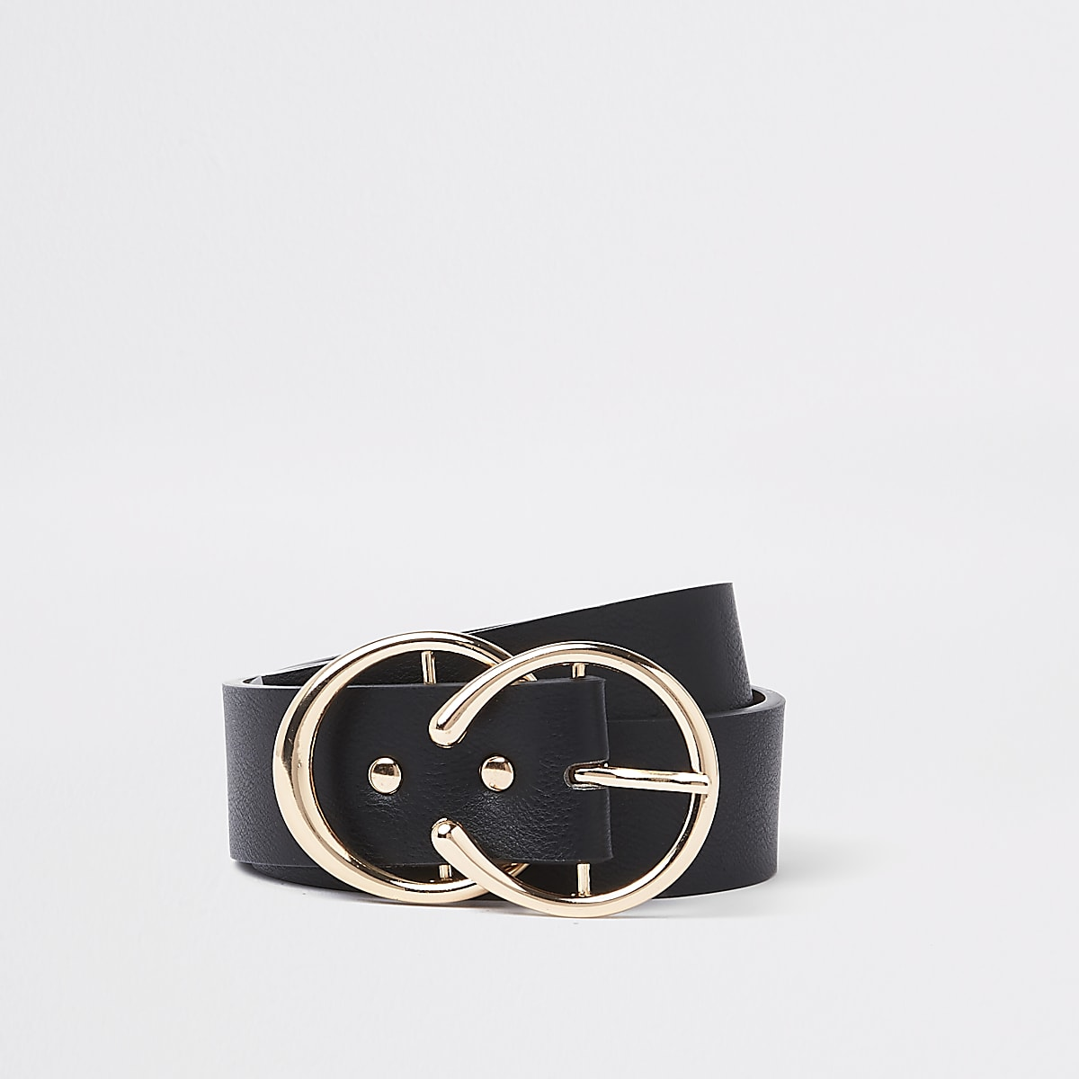 Zwarte riem met goudkleurige hoefijzervormige gesp