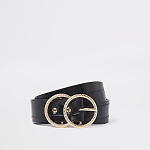 Black croc double circle belt