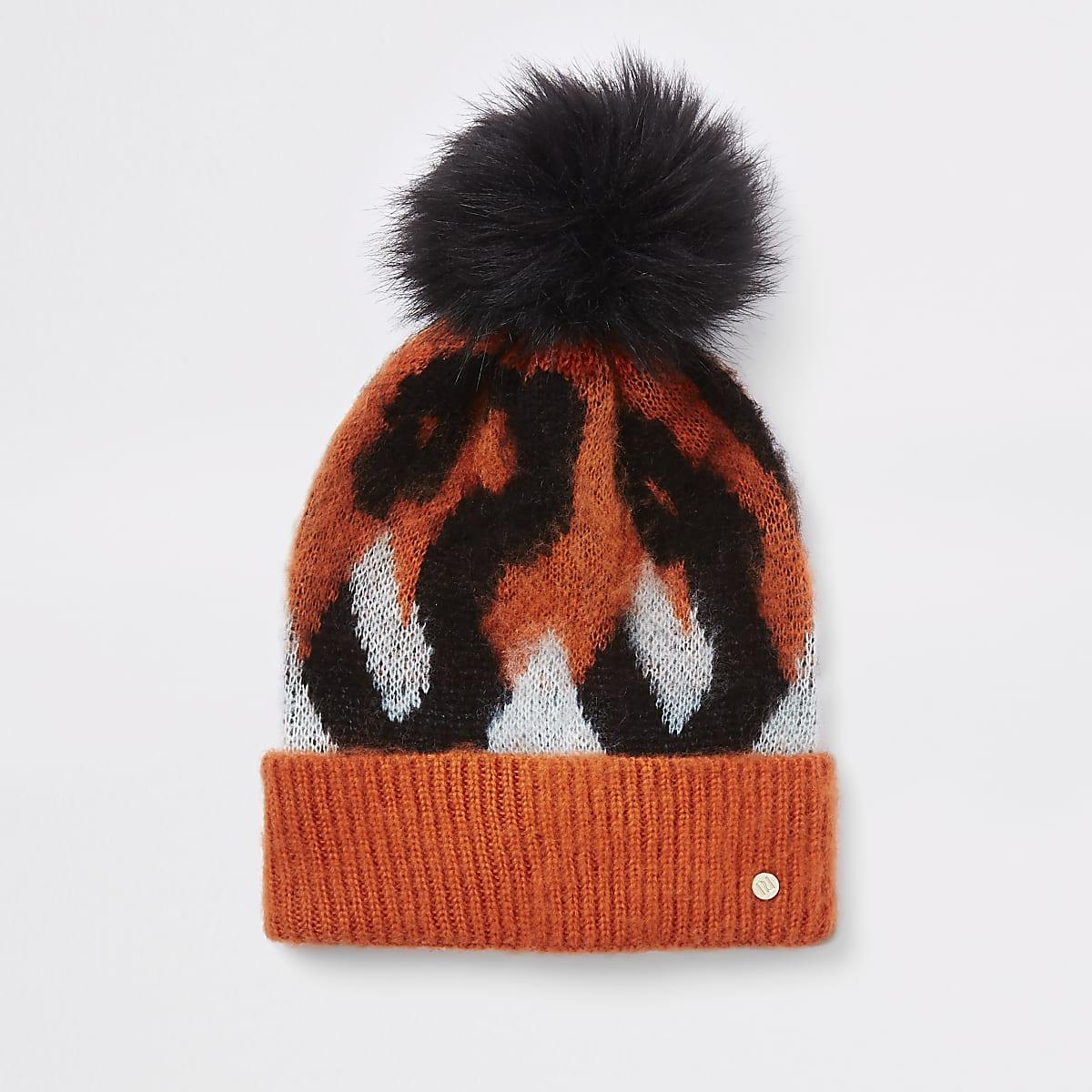 9ce0b7633 Orange leopard print pom pom beanie hat