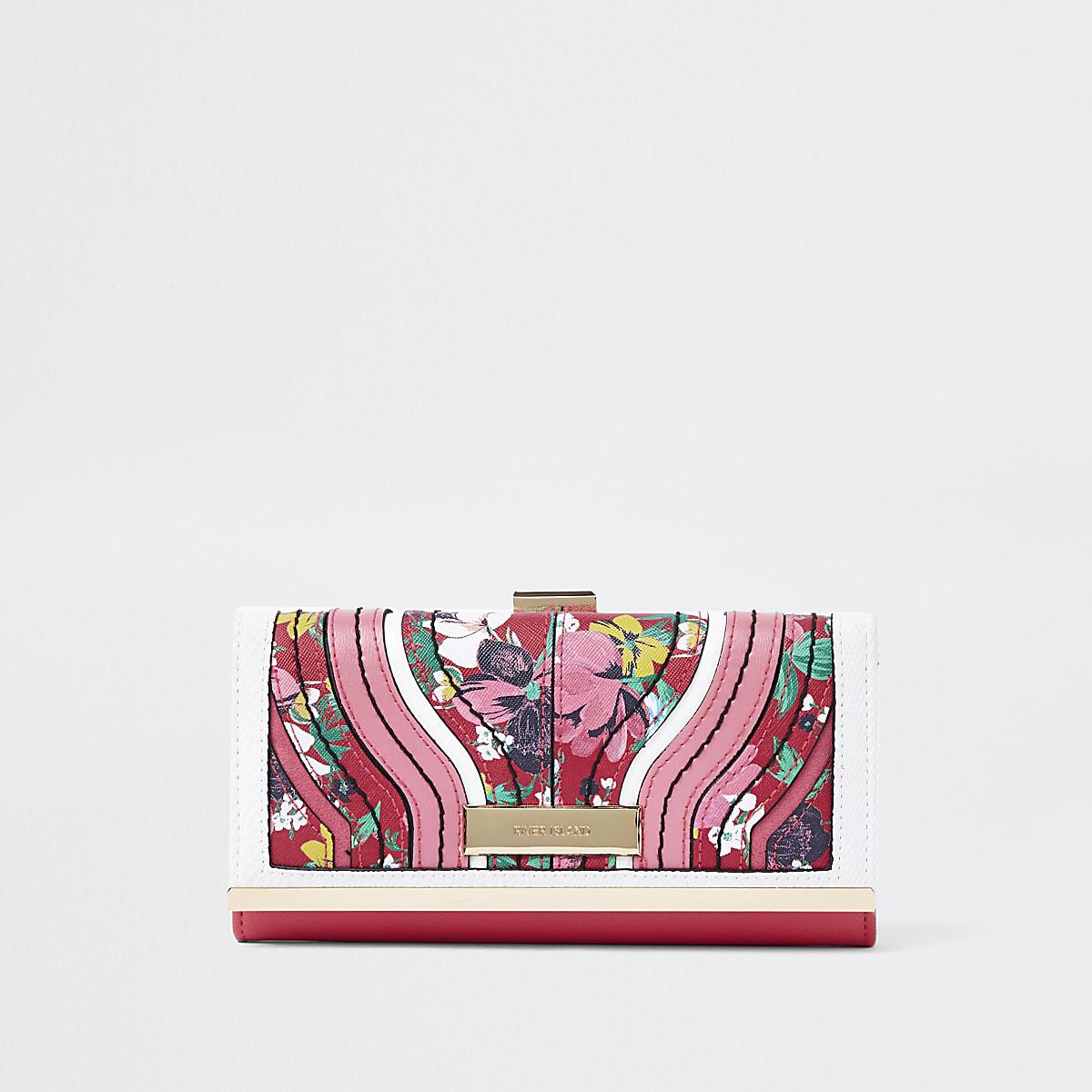 Red floral print cliptop purse