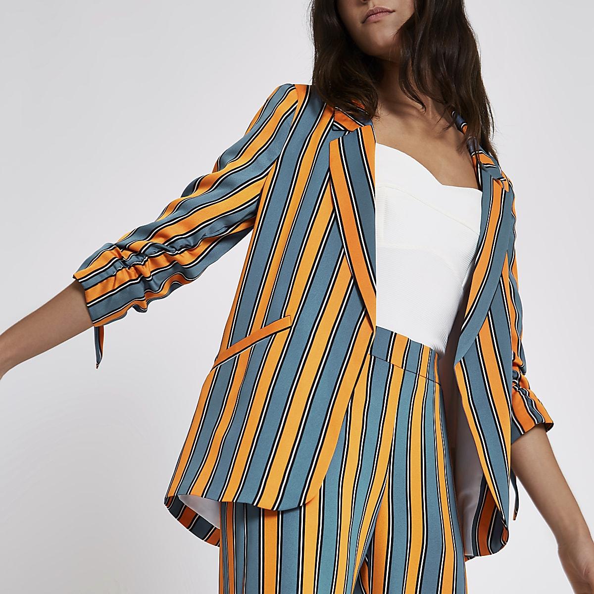 Blue stripe ruched sleeve blazer