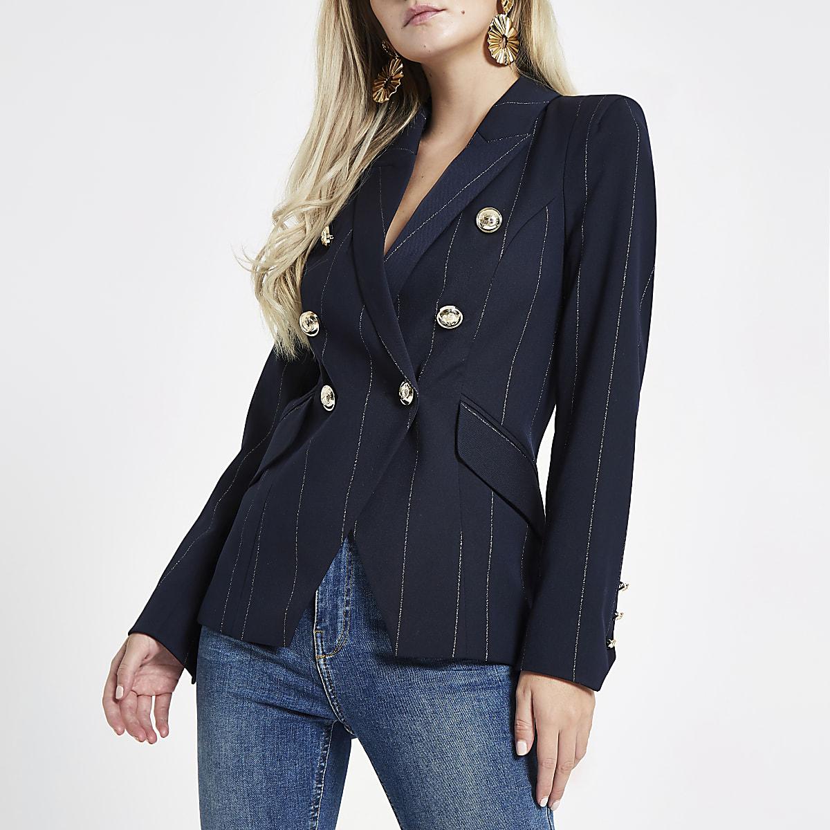 Petite navy stripe double breasted tux blazer