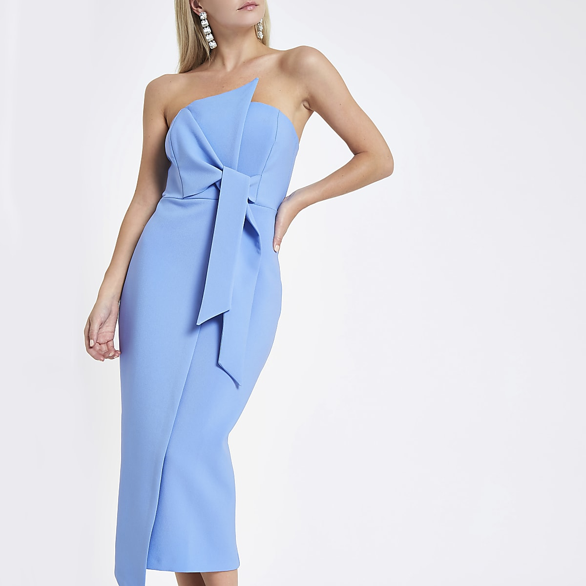 Petite light blue bandeau bodycon midi dress