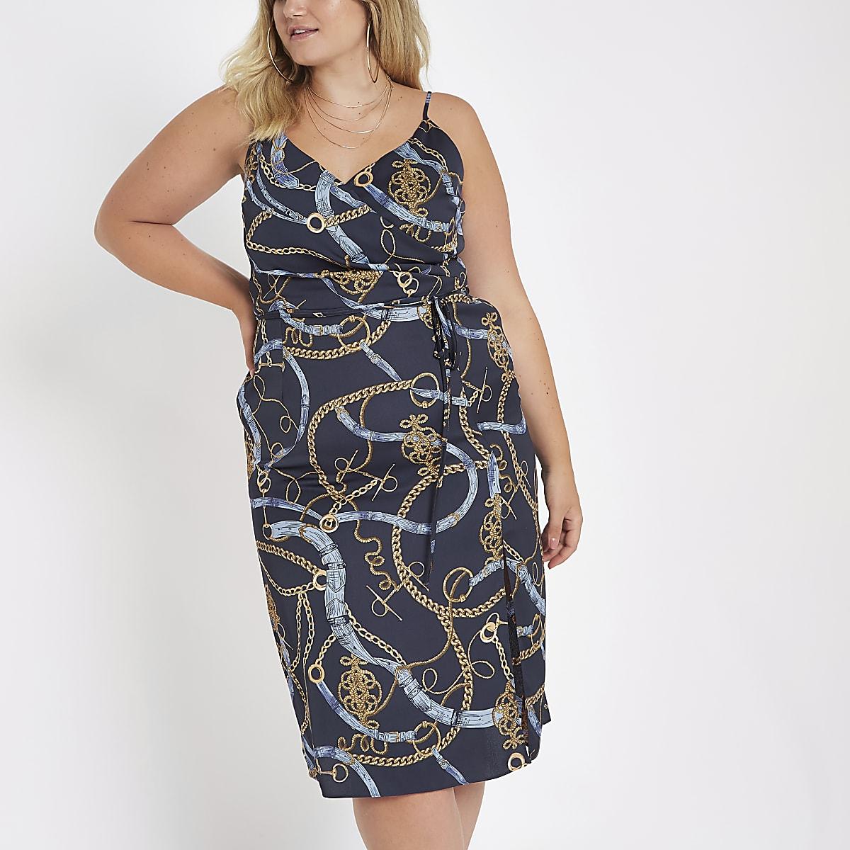 professionnel rencontrer double coupon Plus navy print midi slip Dress