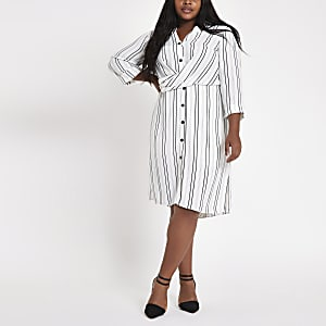 Plus white stripe twist front shirt dress