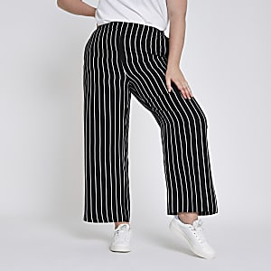 Plus black stripe wide leg pants
