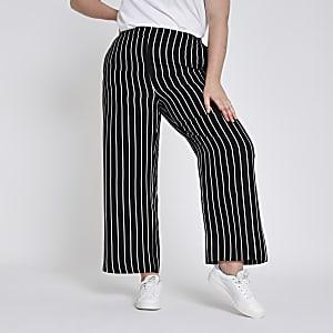 Plus black stripe wide leg pants