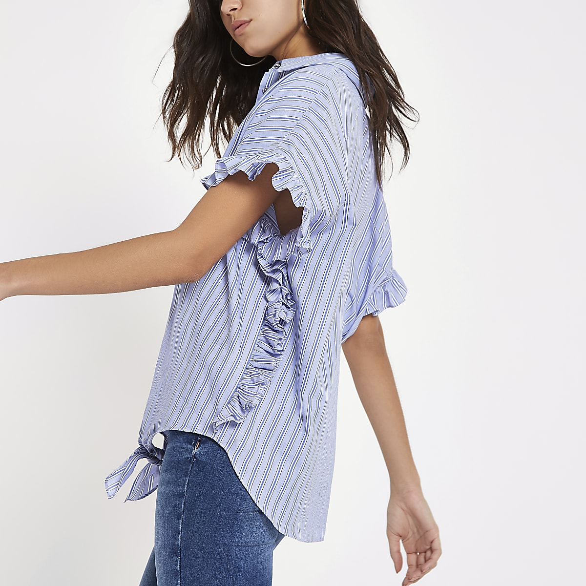Blue stripe frill shirt