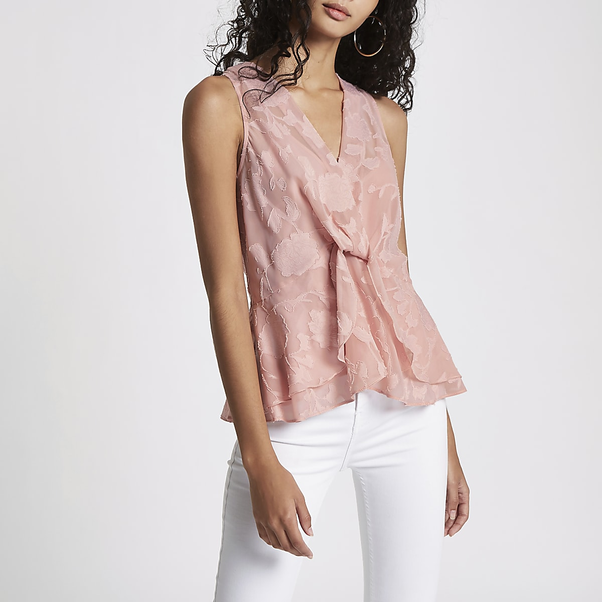 Pink jacquard sleeveless wrap front top