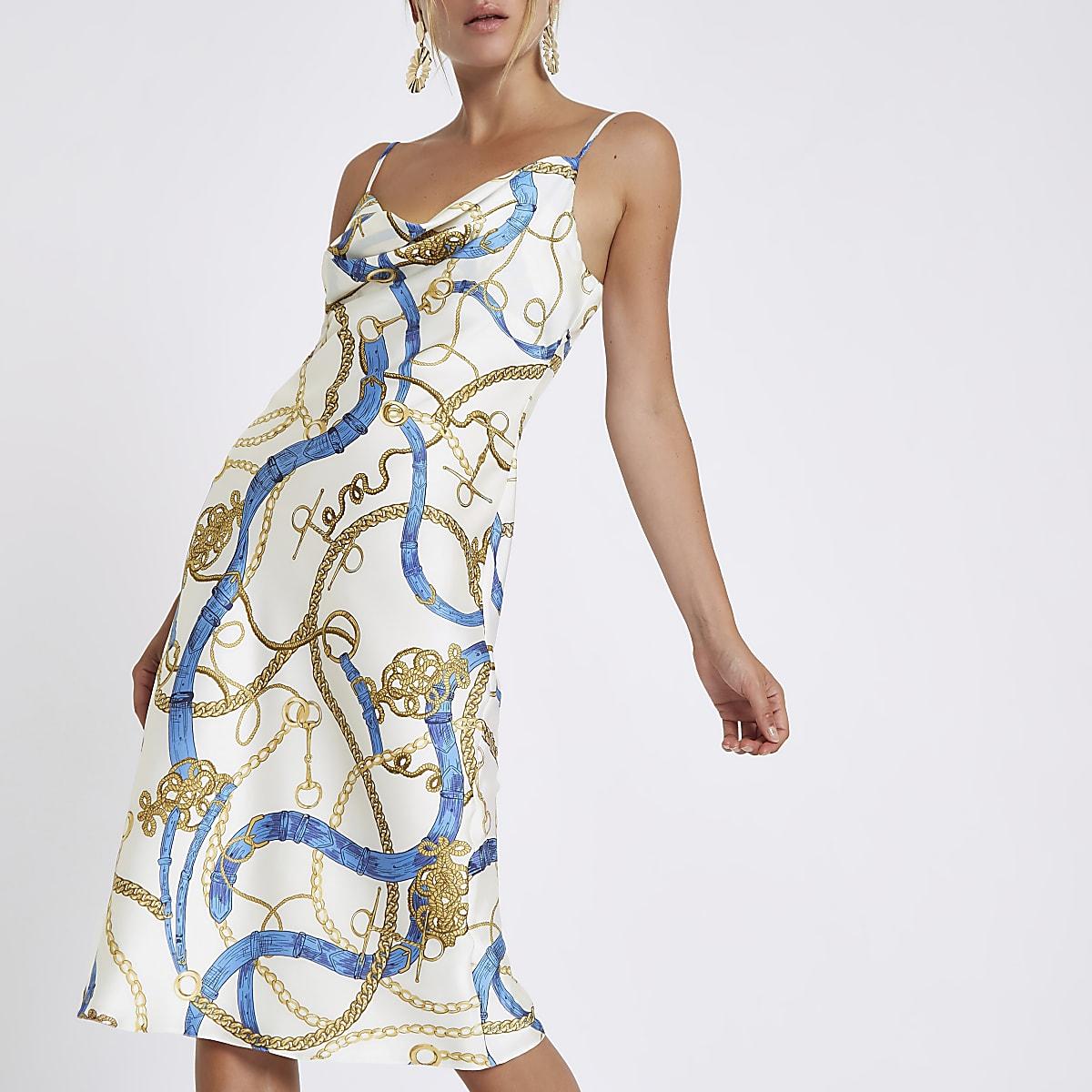 White chain print cowl neck slip dress