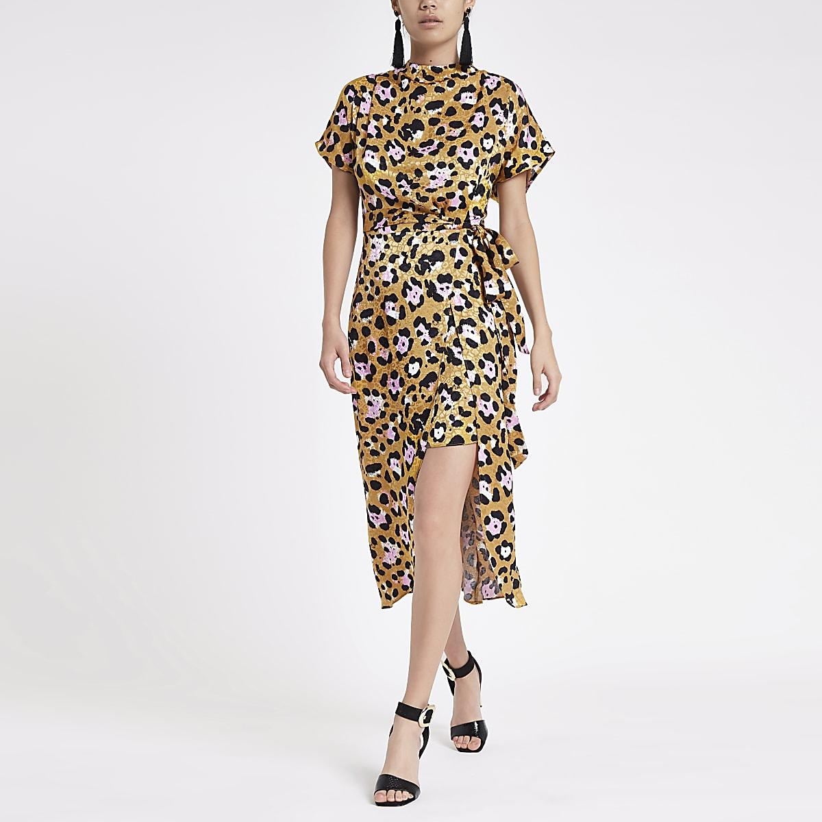 fbd9d2f2e855 Yellow leopard print tie waist midi dress - Swing Dresses - Dresses ...