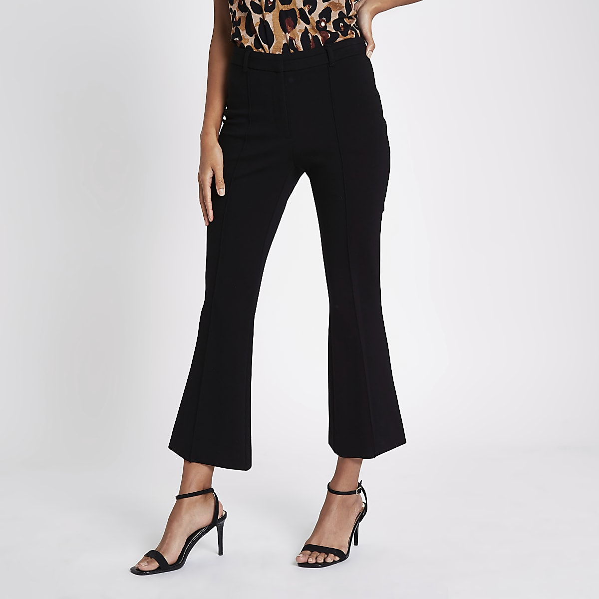 Black ponte flare trousers​