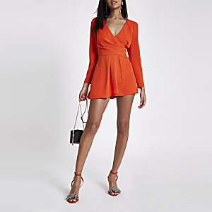 Red V neck wrap romper