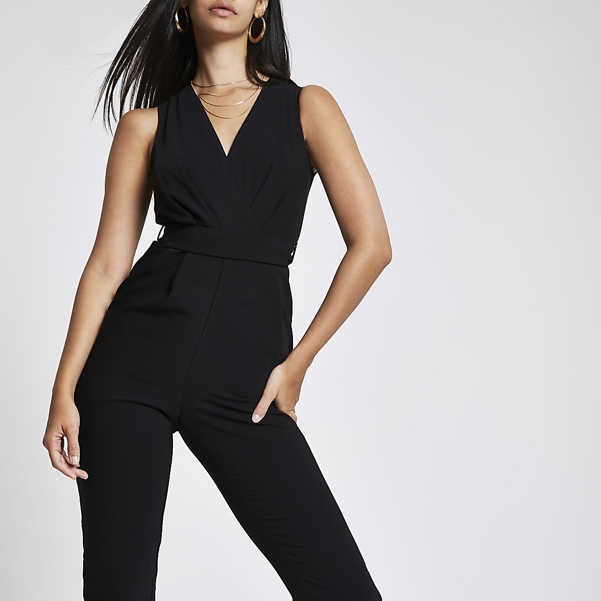 3c0d4c8e7e4 Black wrap front tie waist jumpsuit - Jumpsuits - Playsuits   Jumpsuits -  women