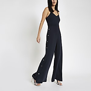 Navy wide leg popper side jumpsuit