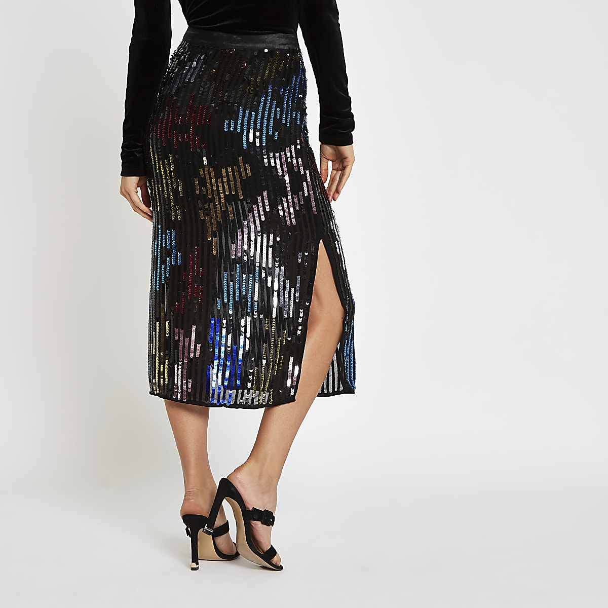 bd67718e13 Black multicoloured sequin pencil skirt - Midi Skirts - Skirts - women