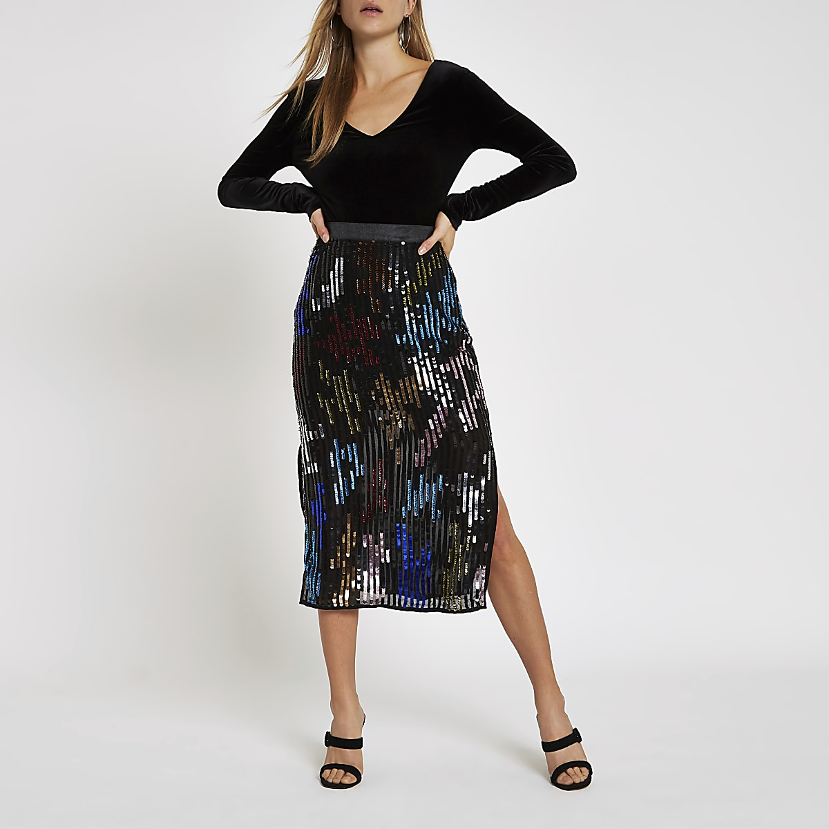 Black multicoloured sequin pencil skirt