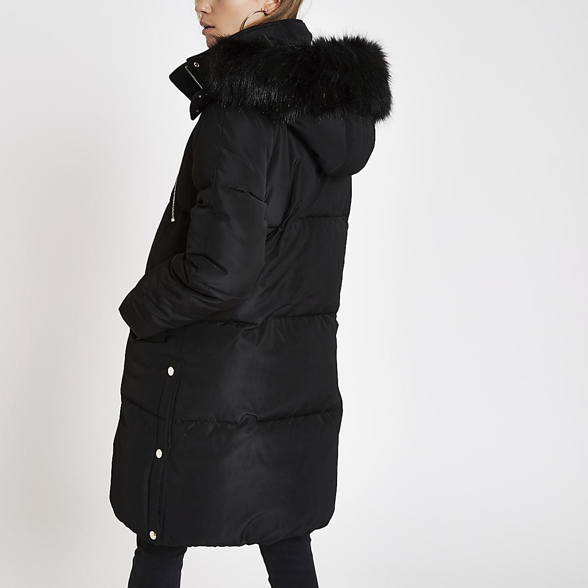 2723e9e5441 Black faux fur trim longline puffer jacket