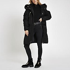Black faux fur trim longline puffer jacket