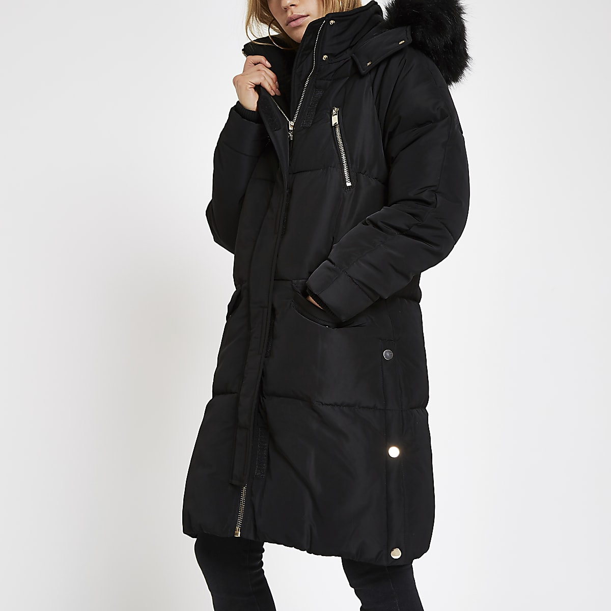 97dbf37af Black faux fur trim longline puffer jacket - Coats - Coats & Jackets ...