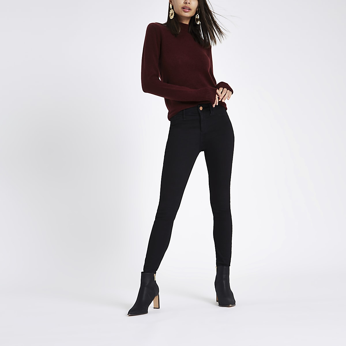 Dark red knit turtle neck jumper