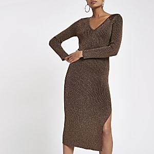 Bronze V neck knitted dress