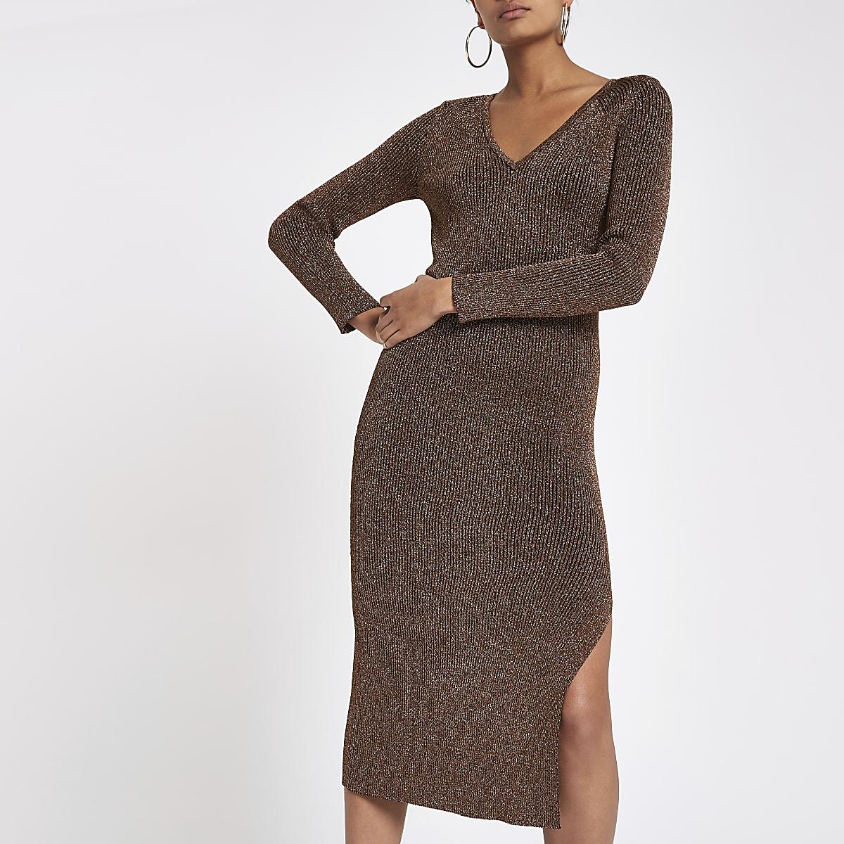 7ba2ff62957 Bronze V neck knitted dress - Bodycon Dresses - Dresses - women