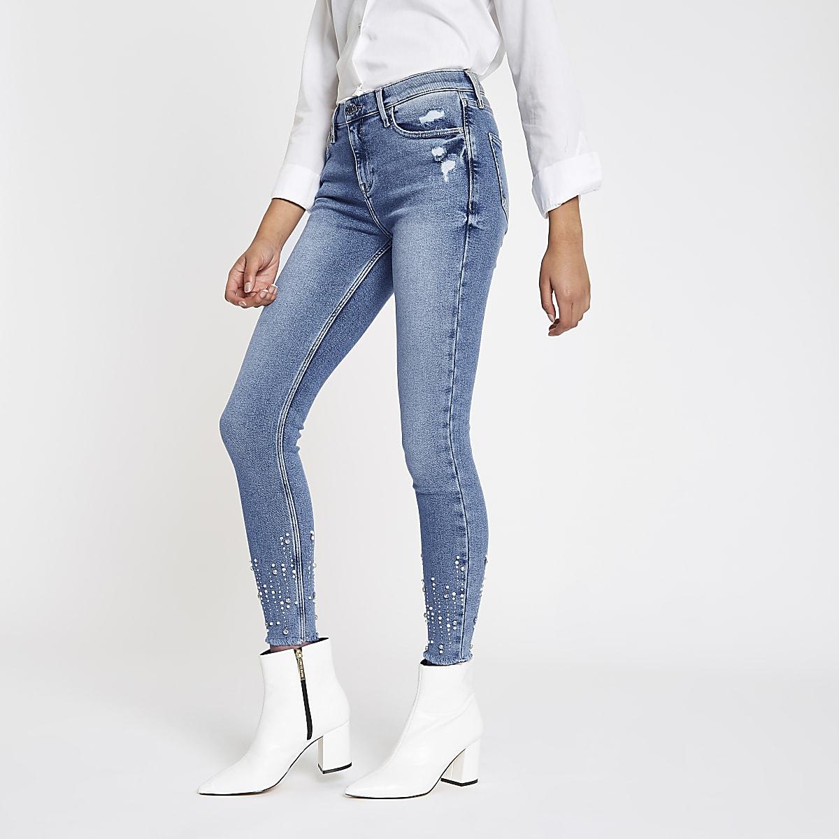 Amelie - Blauwe superskinny jeans met lovertjes