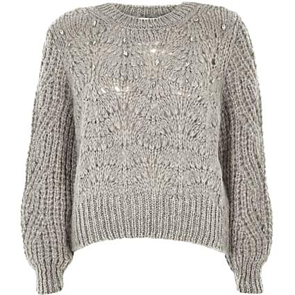 Petite grey knit crew neck embellished jumper